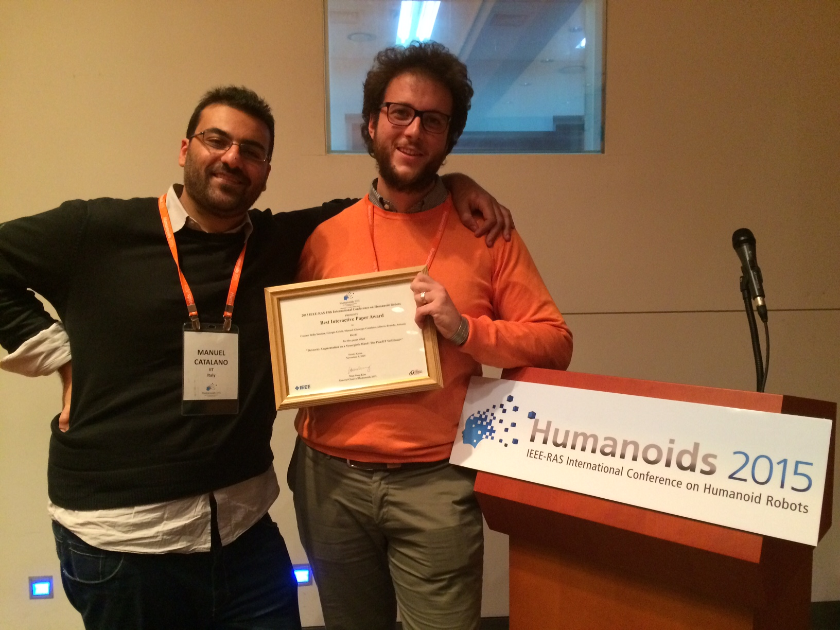 BEST INTERACTIVE PAPER AWARD AT HUMANOIDS 2015!